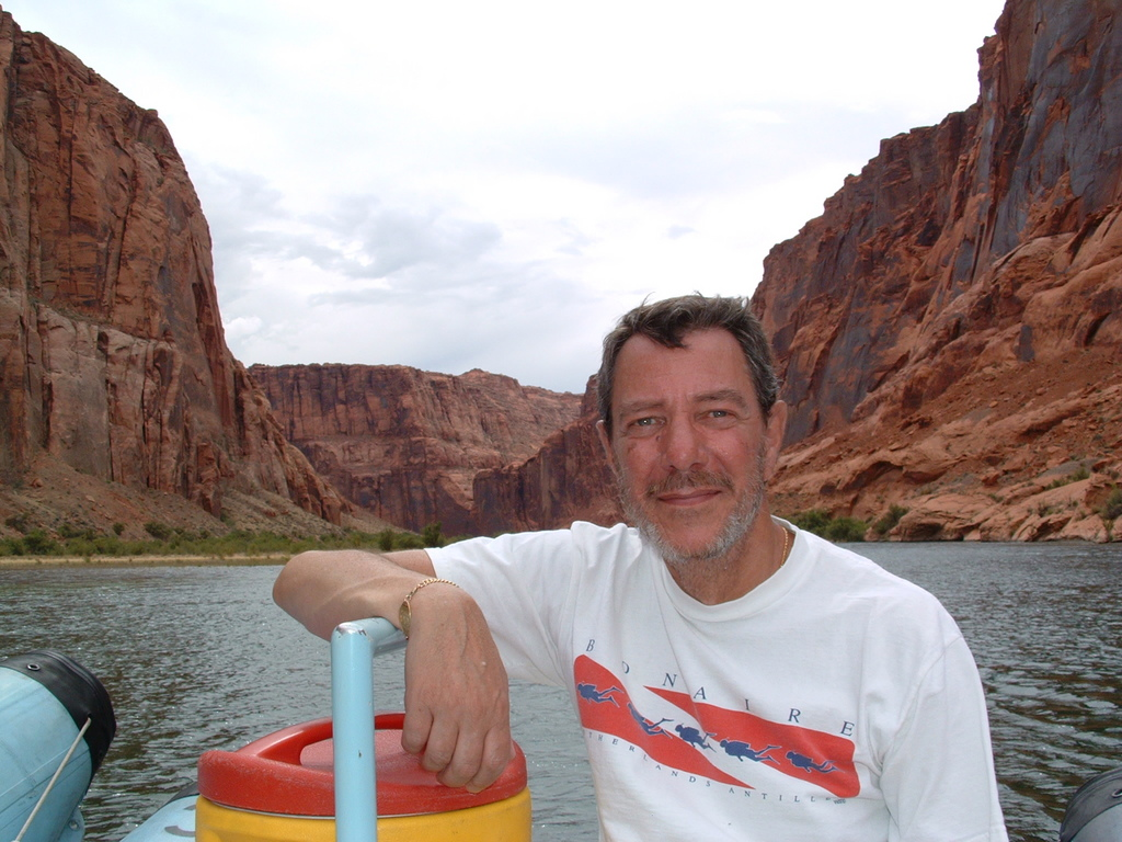 dad, on a boat, somewhere in the southwest