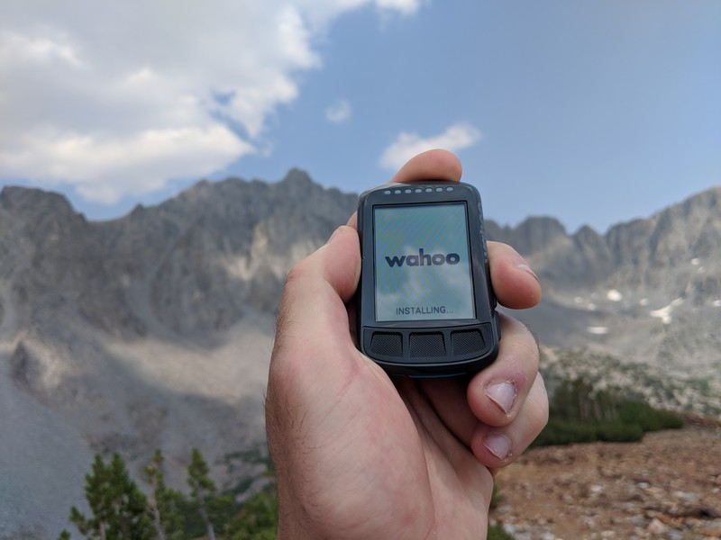 an ELEMNT BOLT in the mountains hung at Installing...