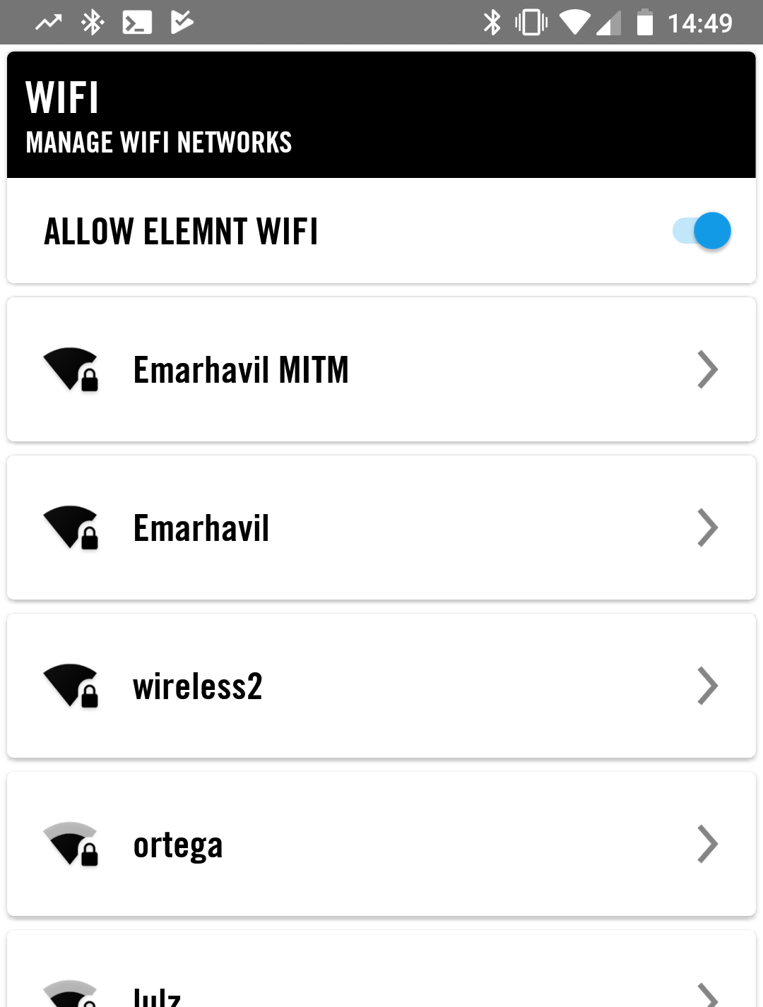 an ELEMNT BOLT config screen with Emarhavil MITM as an option